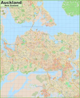 Large detailed map of Auckland