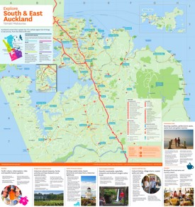 South and East Auckland tourist map