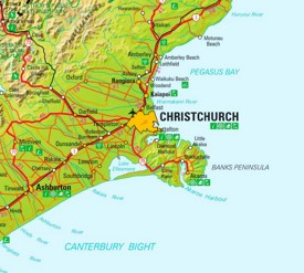 Christchurch area map