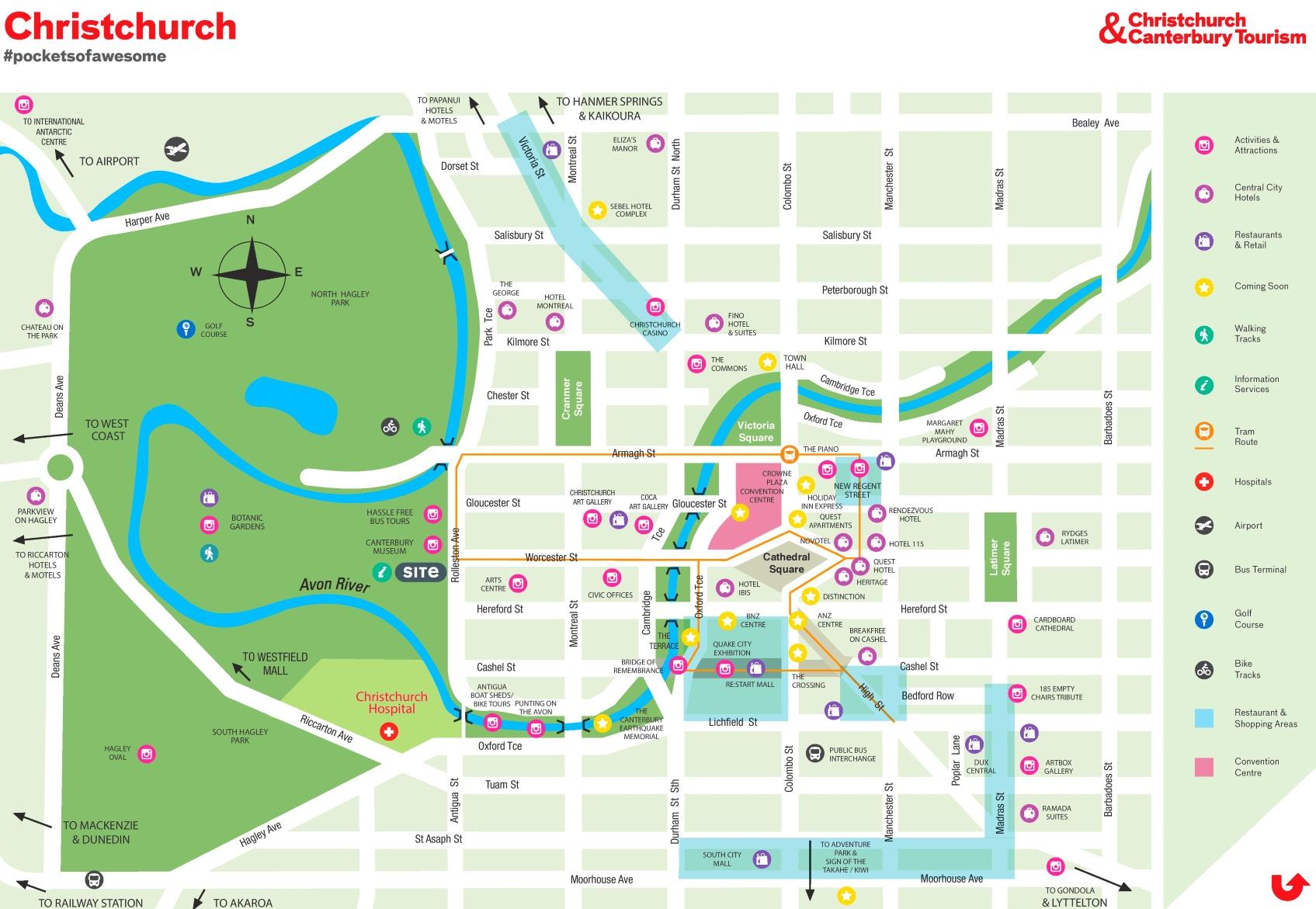 New Zealand Christchurch Map.Christchurch Tourist Map