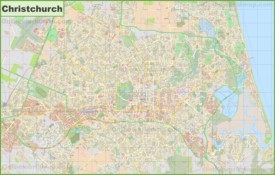 Large detailed map of Christchurch