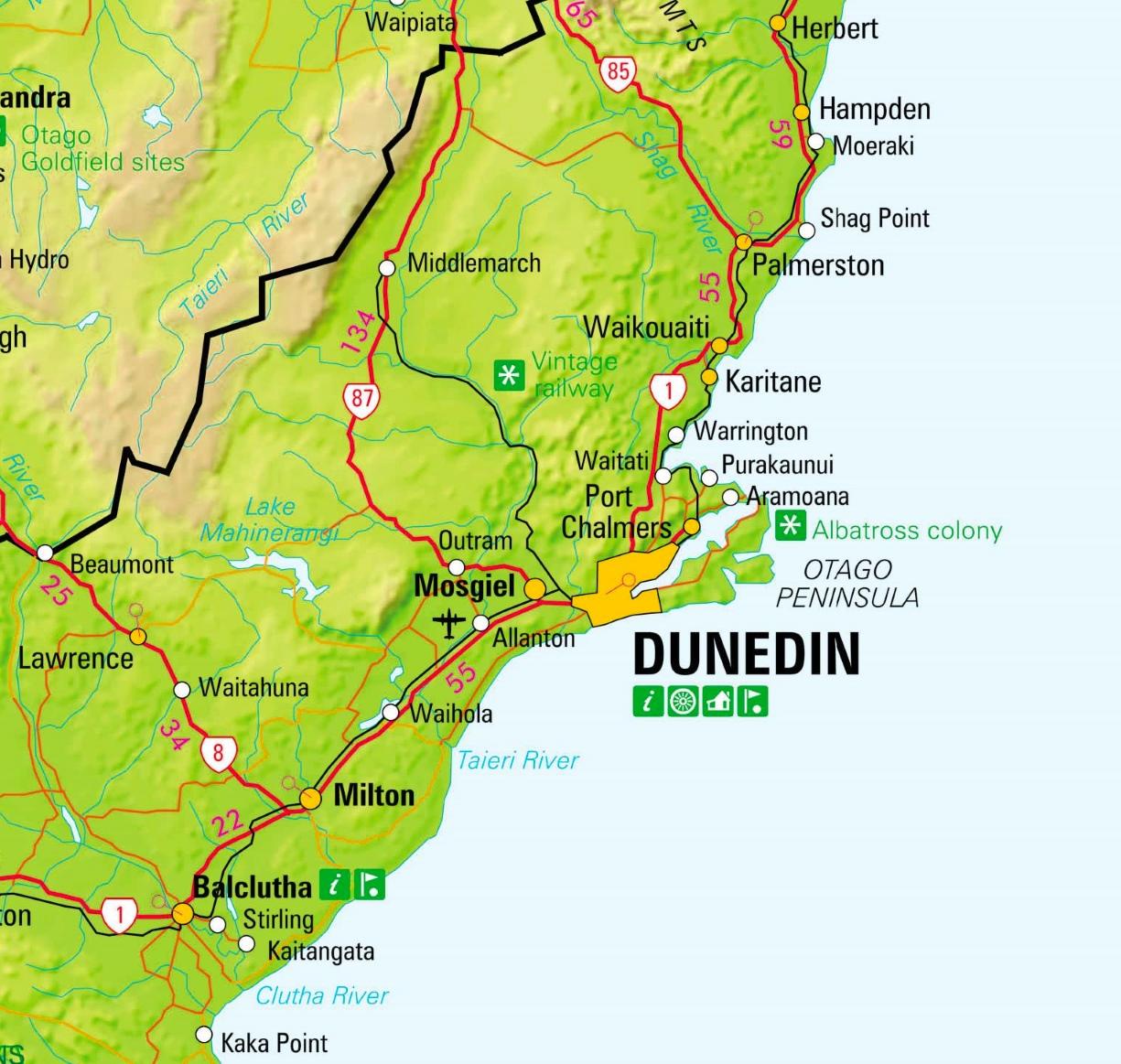 Dunedin Map New Zealand.Dunedin Area Map