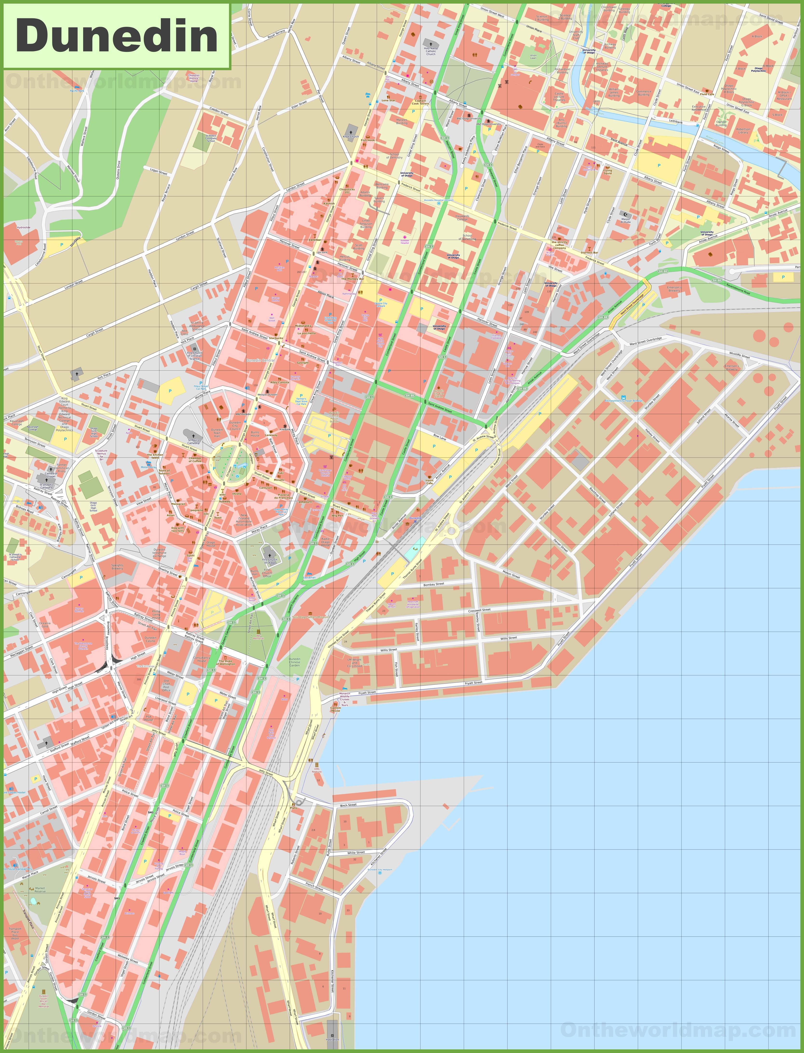 Dunedin Map New Zealand.Dunedin Cbd Map
