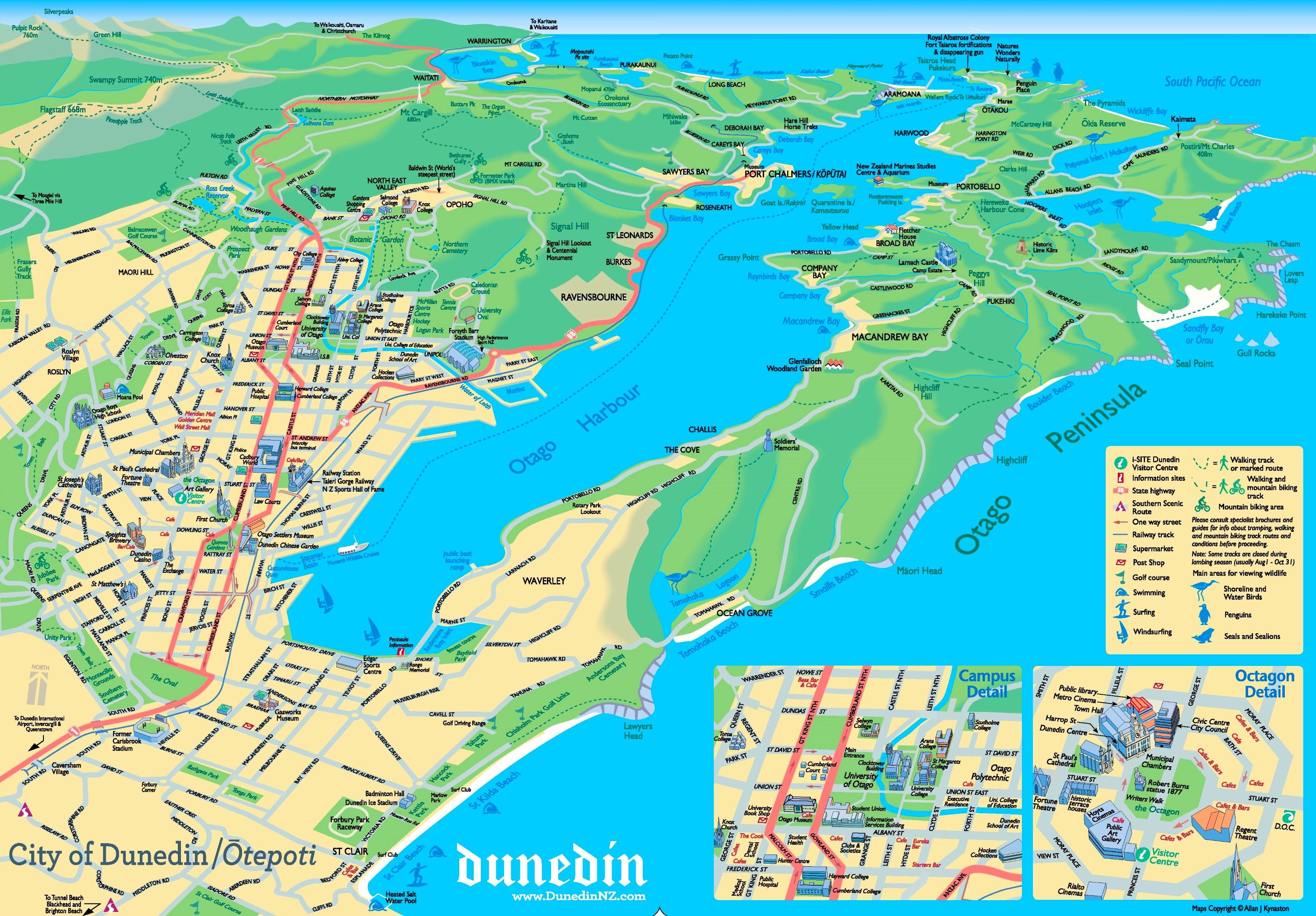 New Zealand Highway Map.Dunedin Tourist Map
