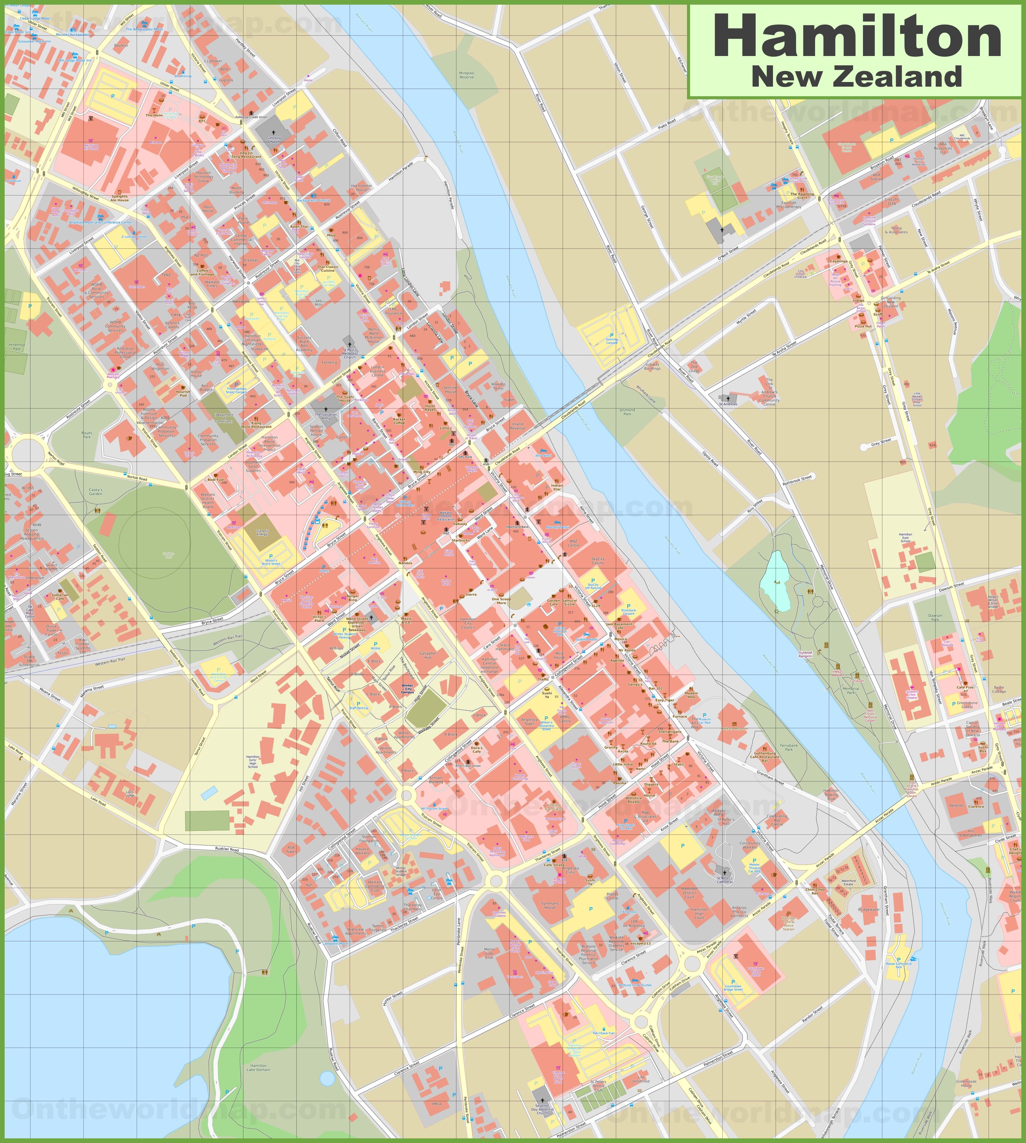 Hamilton Map New Zealand.Hamilton Cbd Map