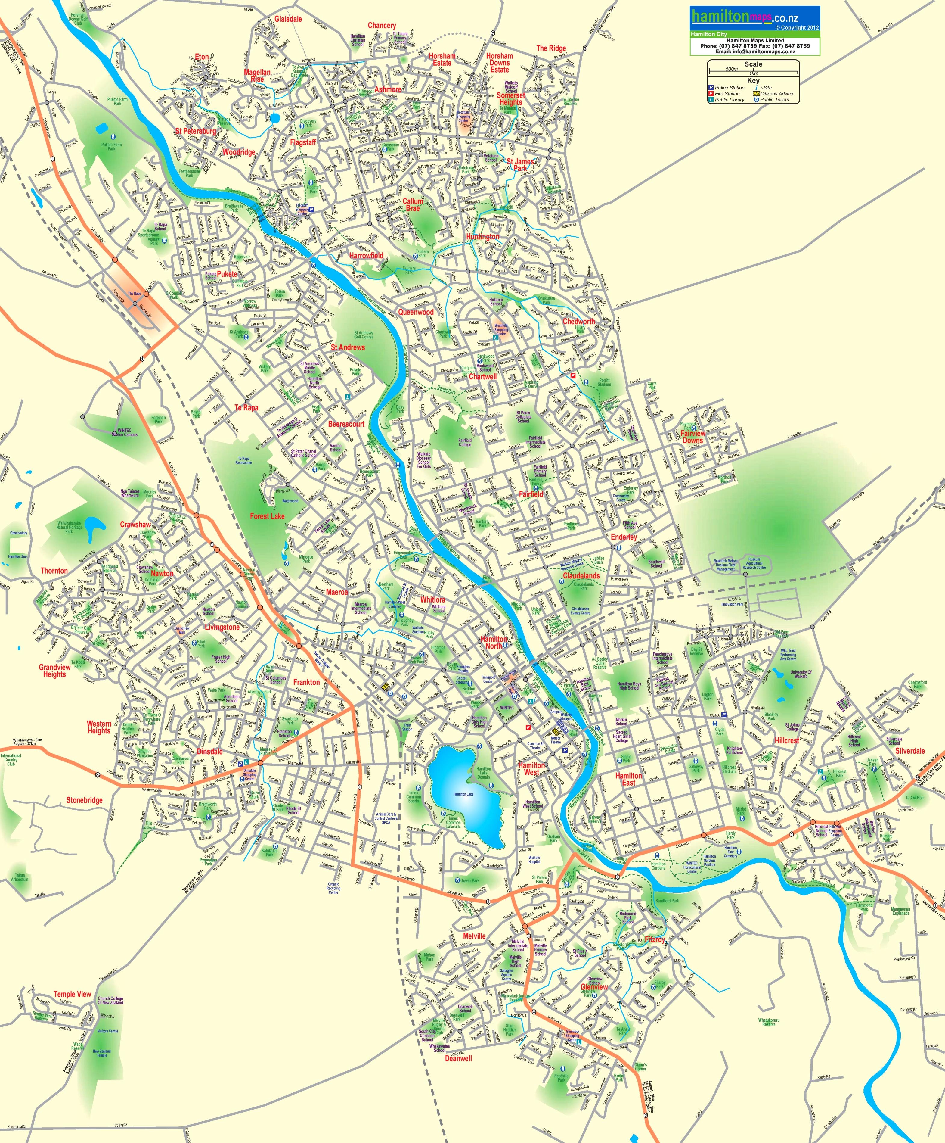 Hamilton Map New Zealand.Hamilton Street Map