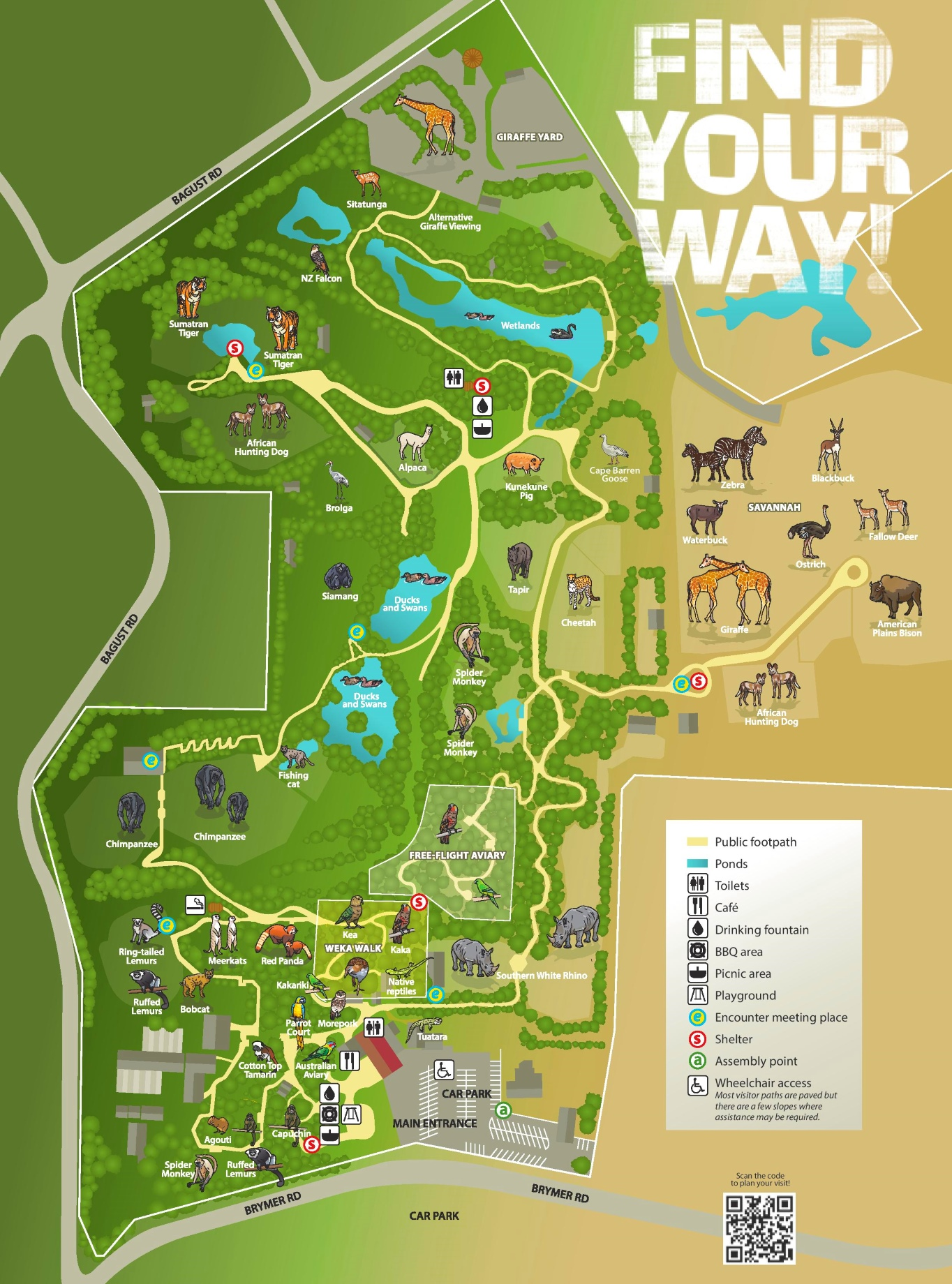 Hamilton New Zealand Map.Hamilton Zoo Map