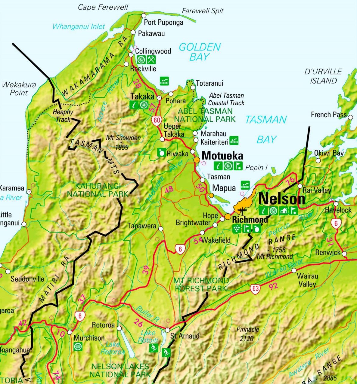 Map nelson nz Appleby, Tasman,
