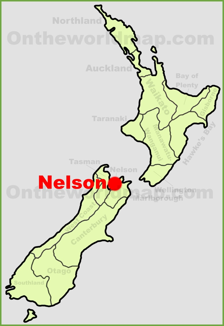 Nelson location on the New Zealand Map