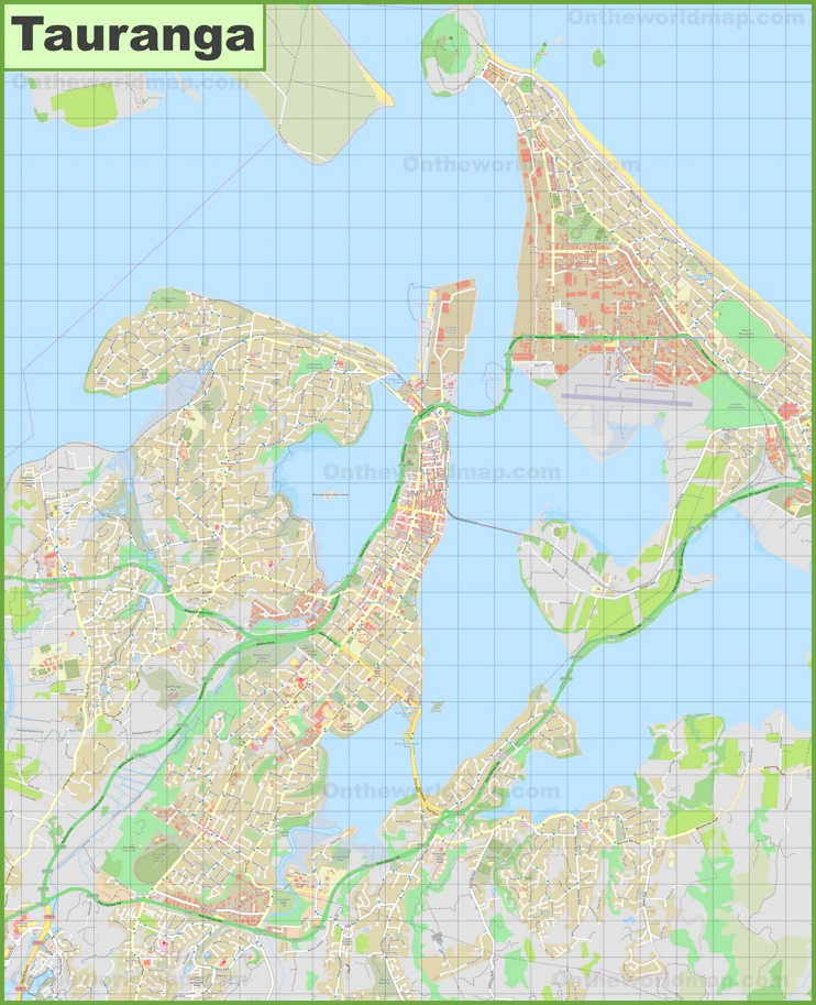 Large detailed map of Tauranga
