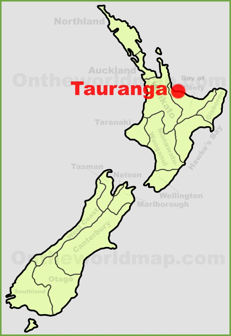 Tauranga location on the New Zealand Map