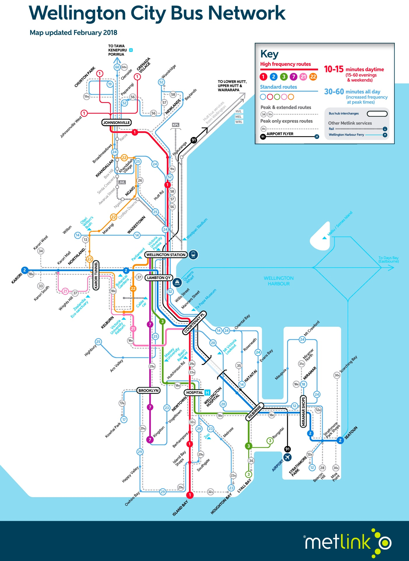 Wellington bus map