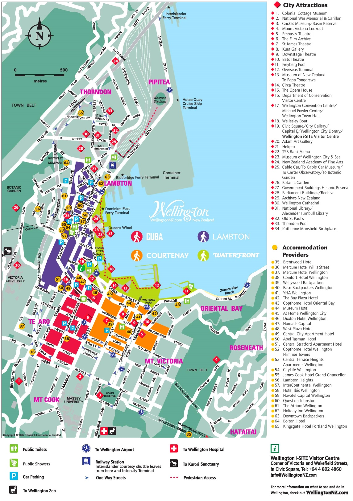 Wellington hotels and sightseeings map