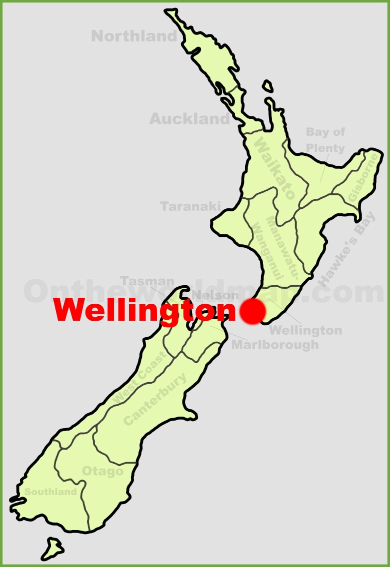 Wellington location on the New Zealand Map