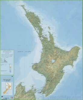 Large detailed North Island New Zealand map