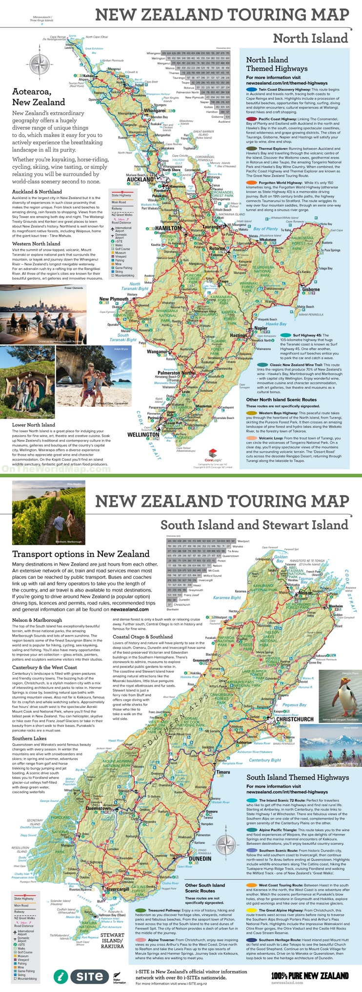 Large detailed tourist map of New Zealand