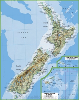 Map of New Zealand with cities and towns