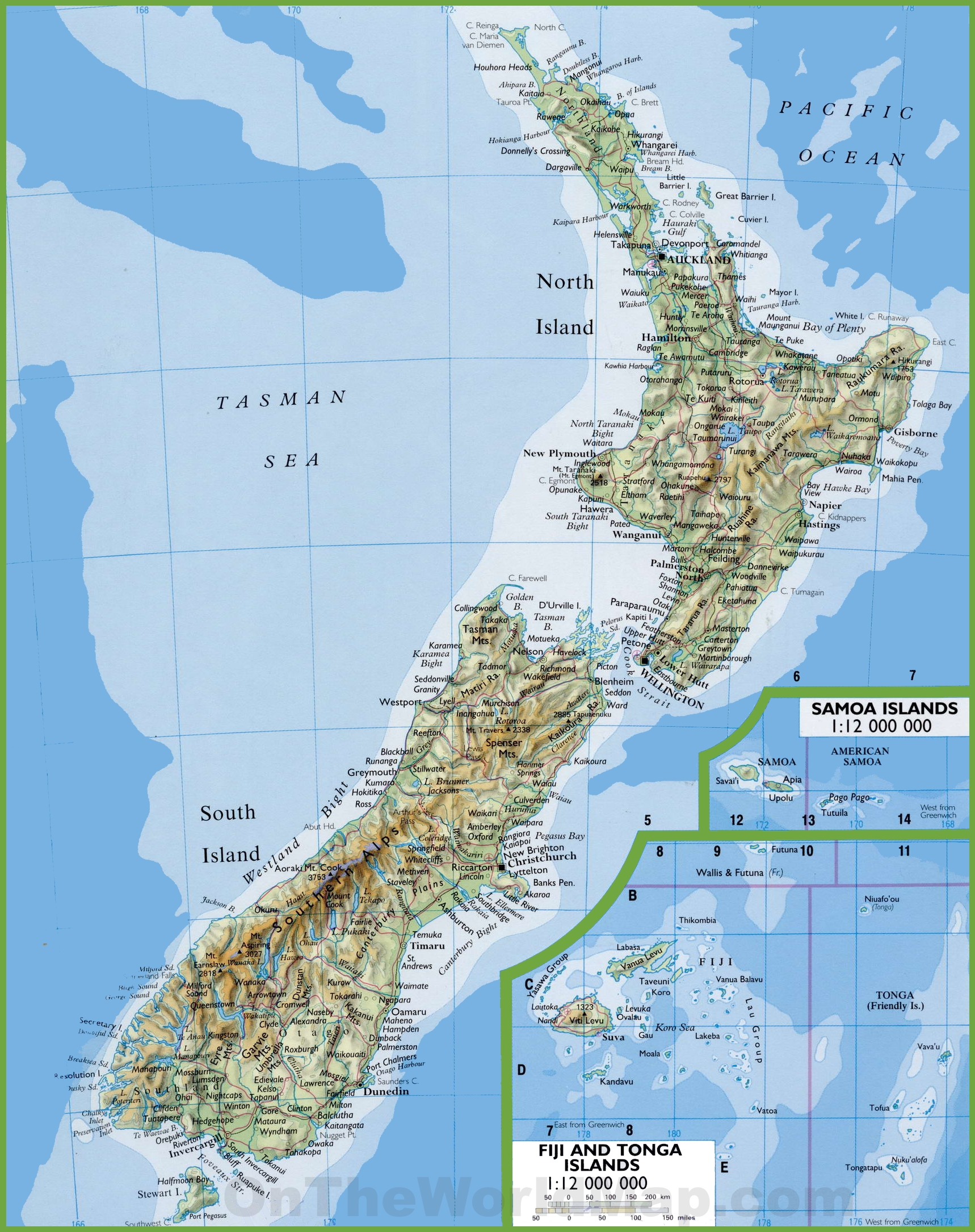 Map Of New Zealand With Cities And Towns - Map new zealand