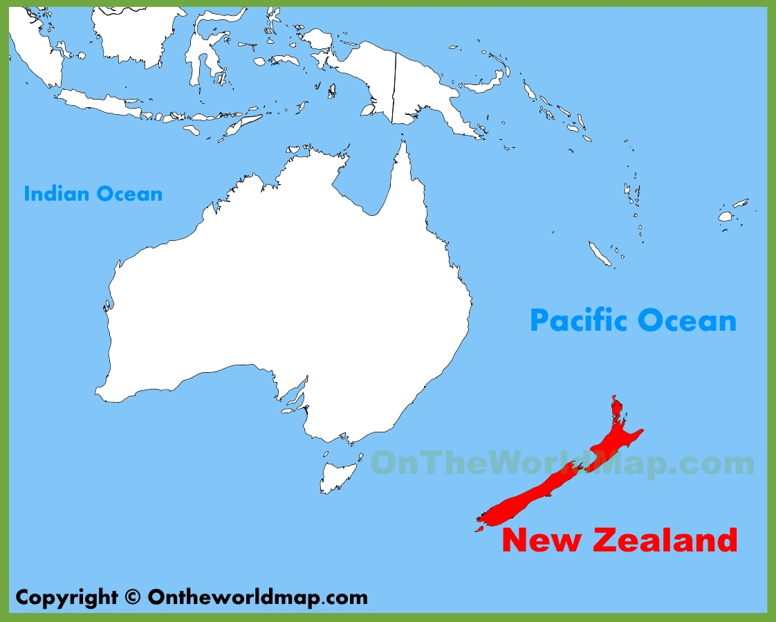 New Zealand On Map New Zealand location on the Oceania map