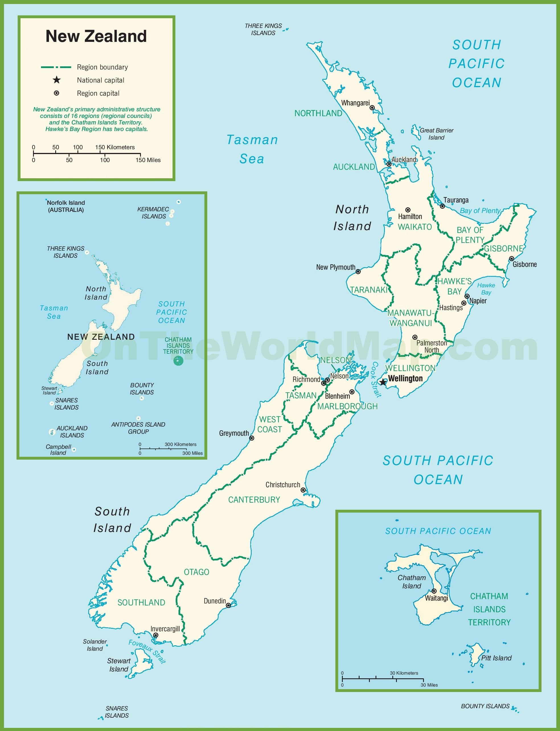 graphic relating to New Zealand Map Printable titled Contemporary Zealand political map