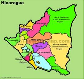Administrative divisions map of Nicaragua