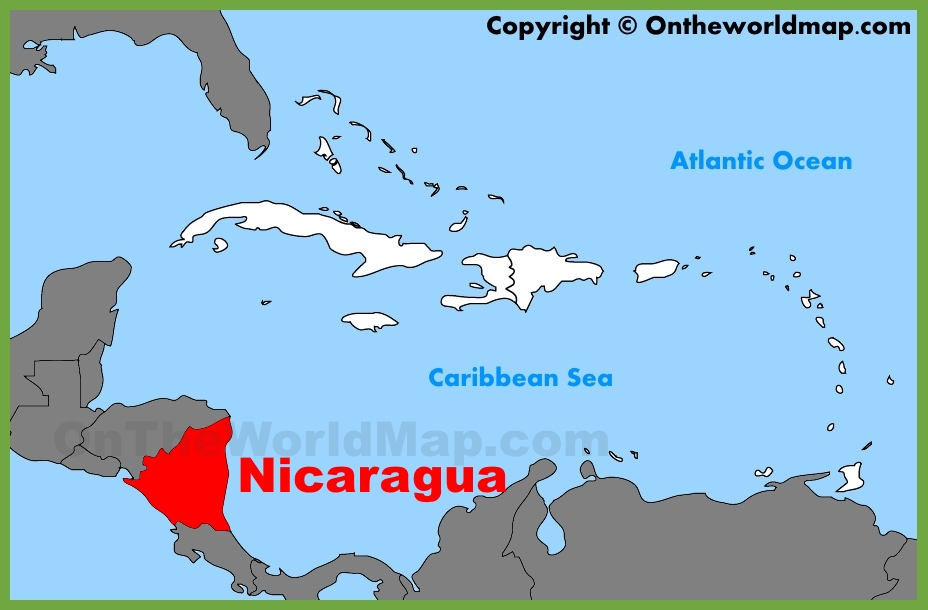 Nicaragua location on the Caribbean map