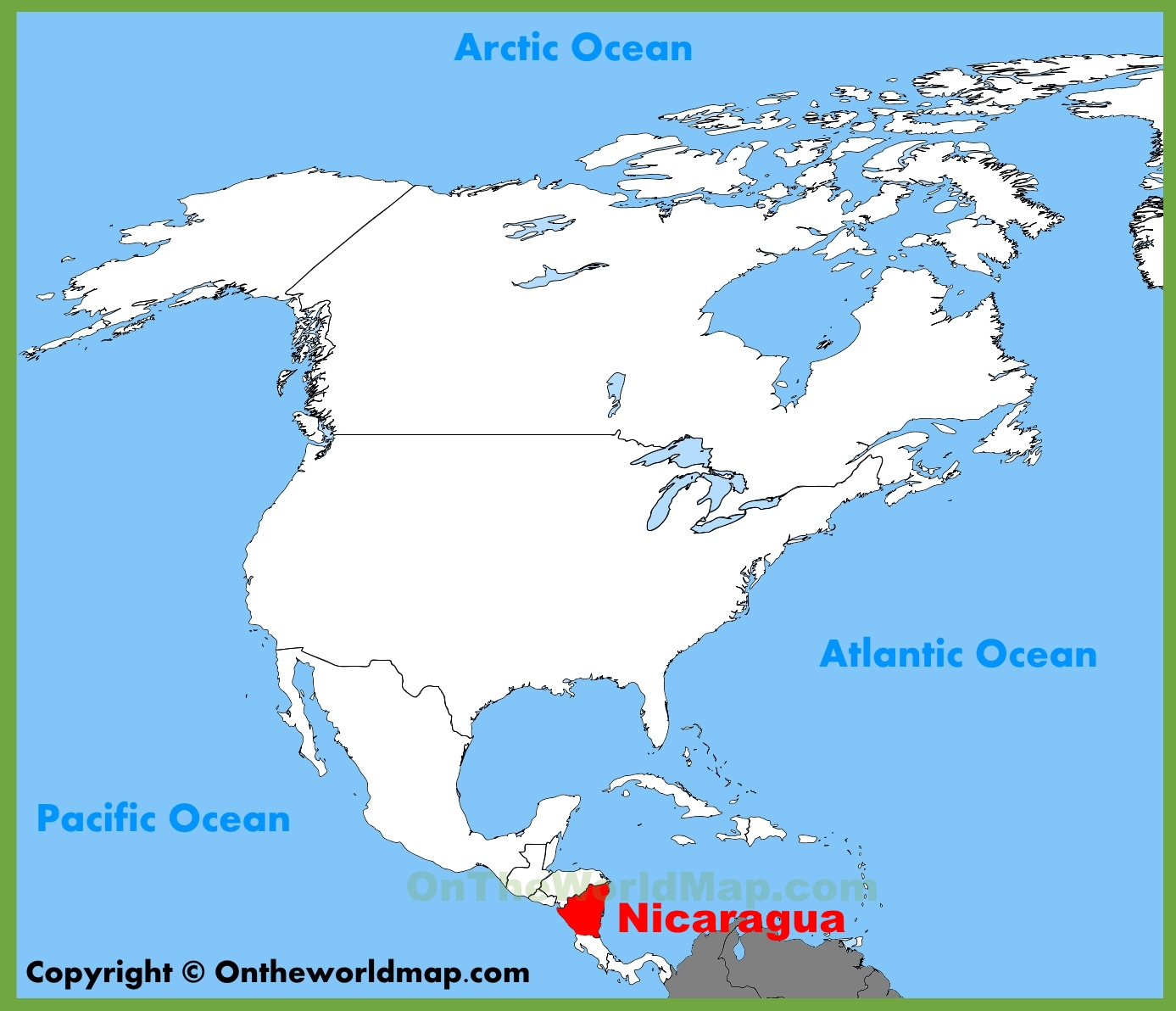 nicaragua location on the north america map -