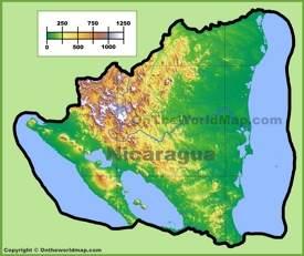 Mapa fisico de Nicaragua