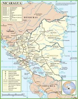 Nicaragua political map