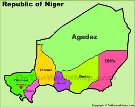 Administrative divisions map of Niger