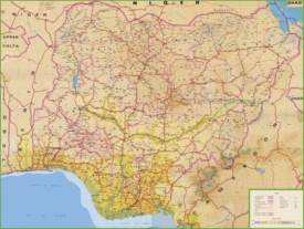 Large detailed map of Nigeria with cities and towns