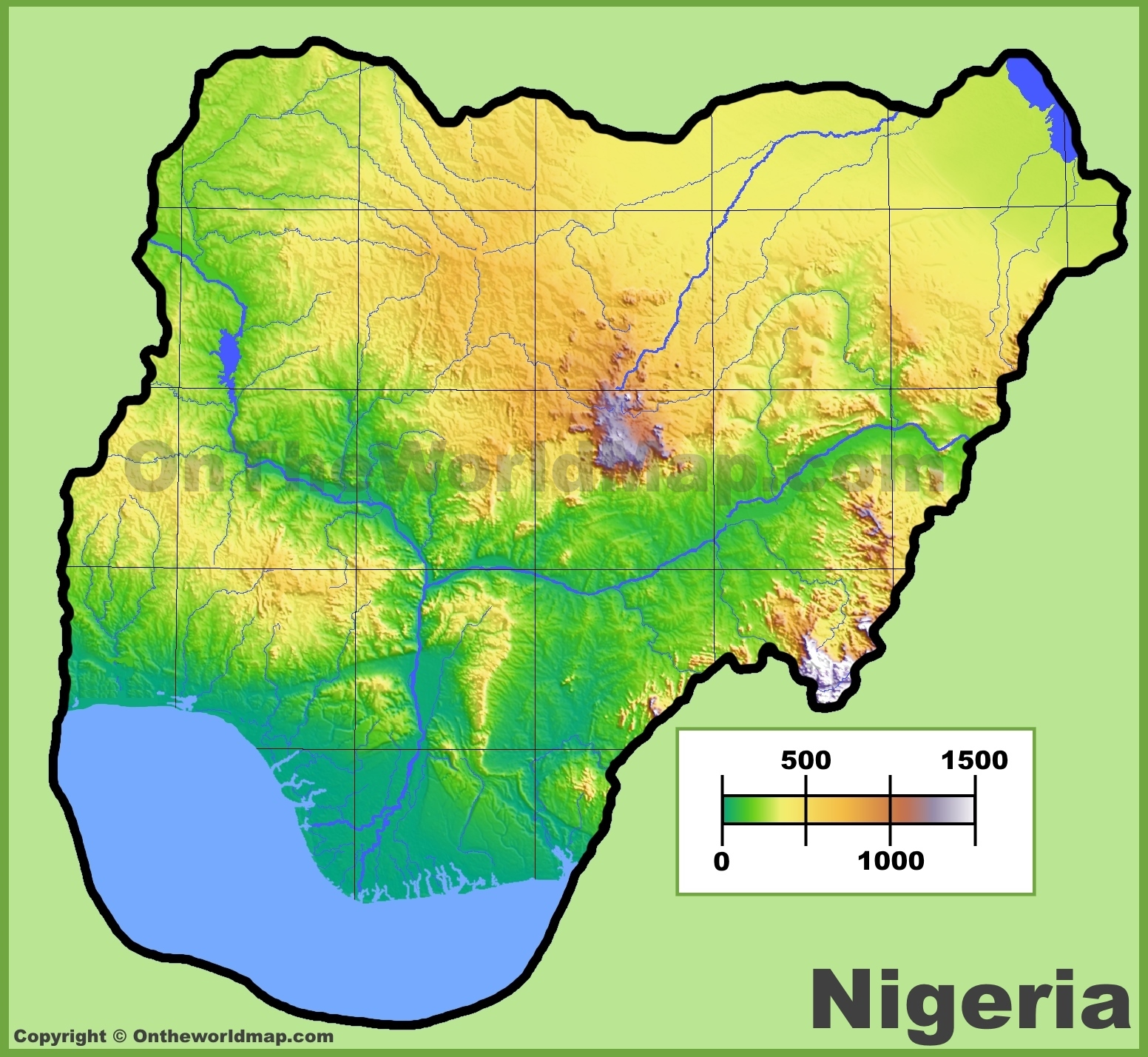 Nigeria Physical Map - Nigeria map