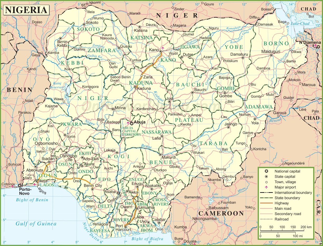 Nigeria Road Map - Nigeria map