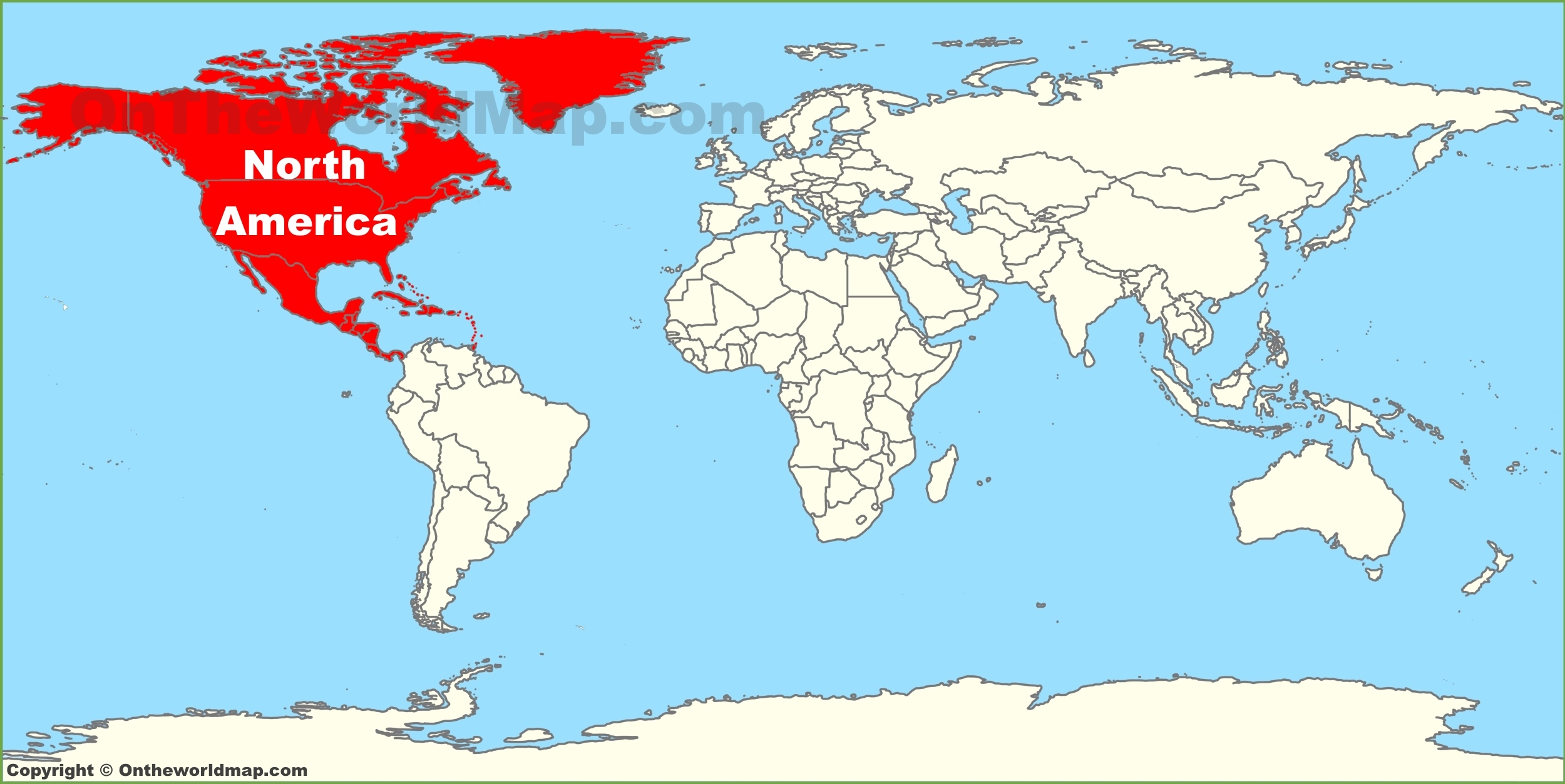 World Map Of North America North America location on the World Map