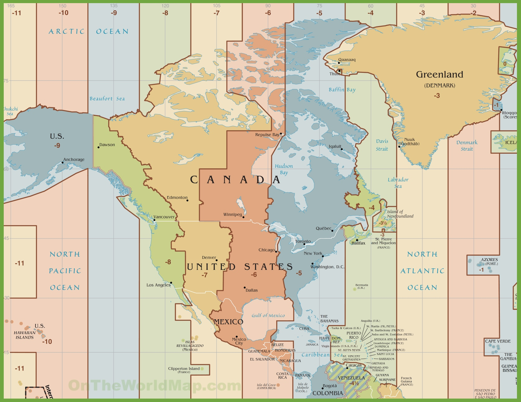 North America Time Zone Map - Us time zone map with times