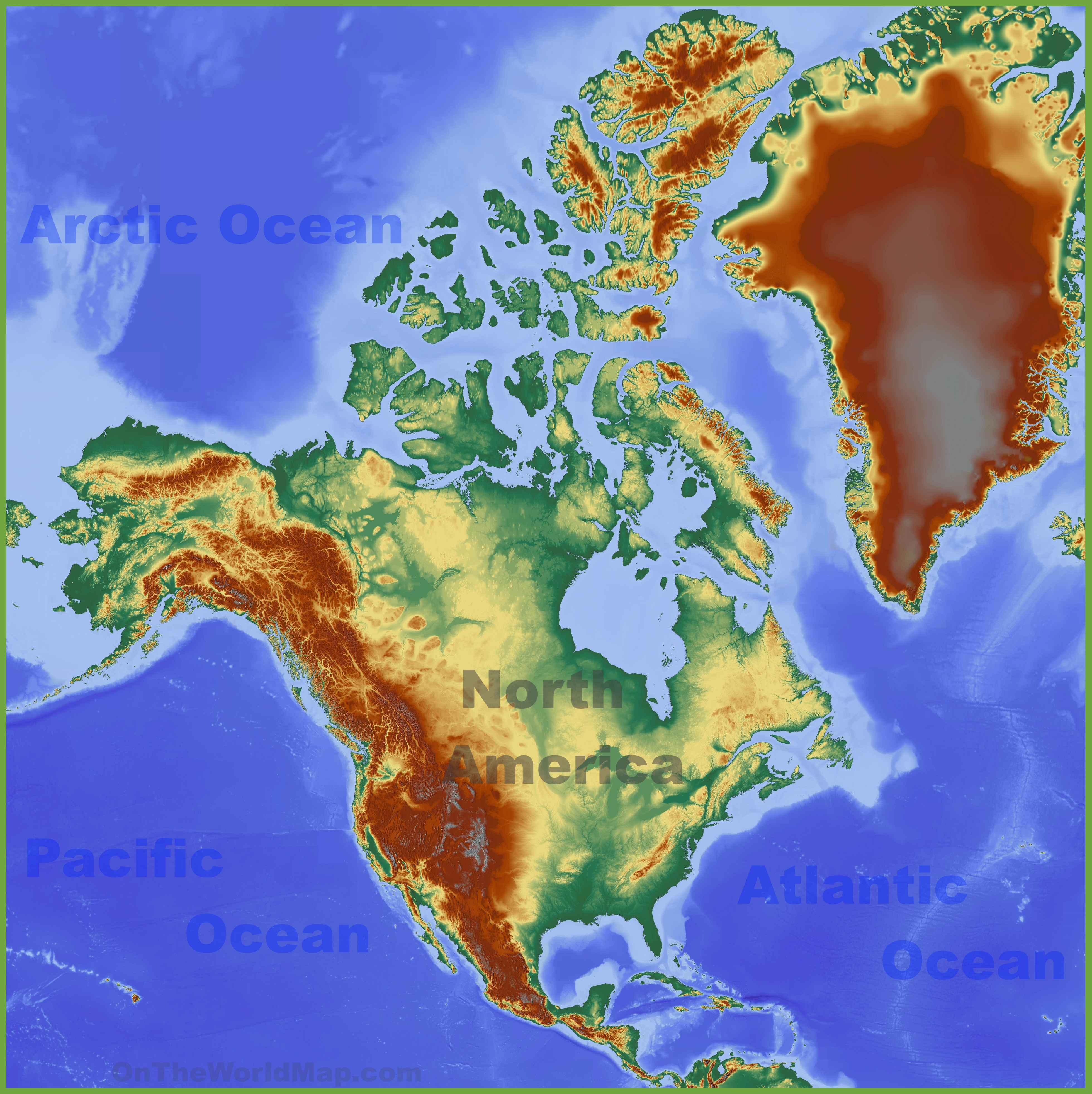 North America Physical Map Physical map of North America North America Physical Map