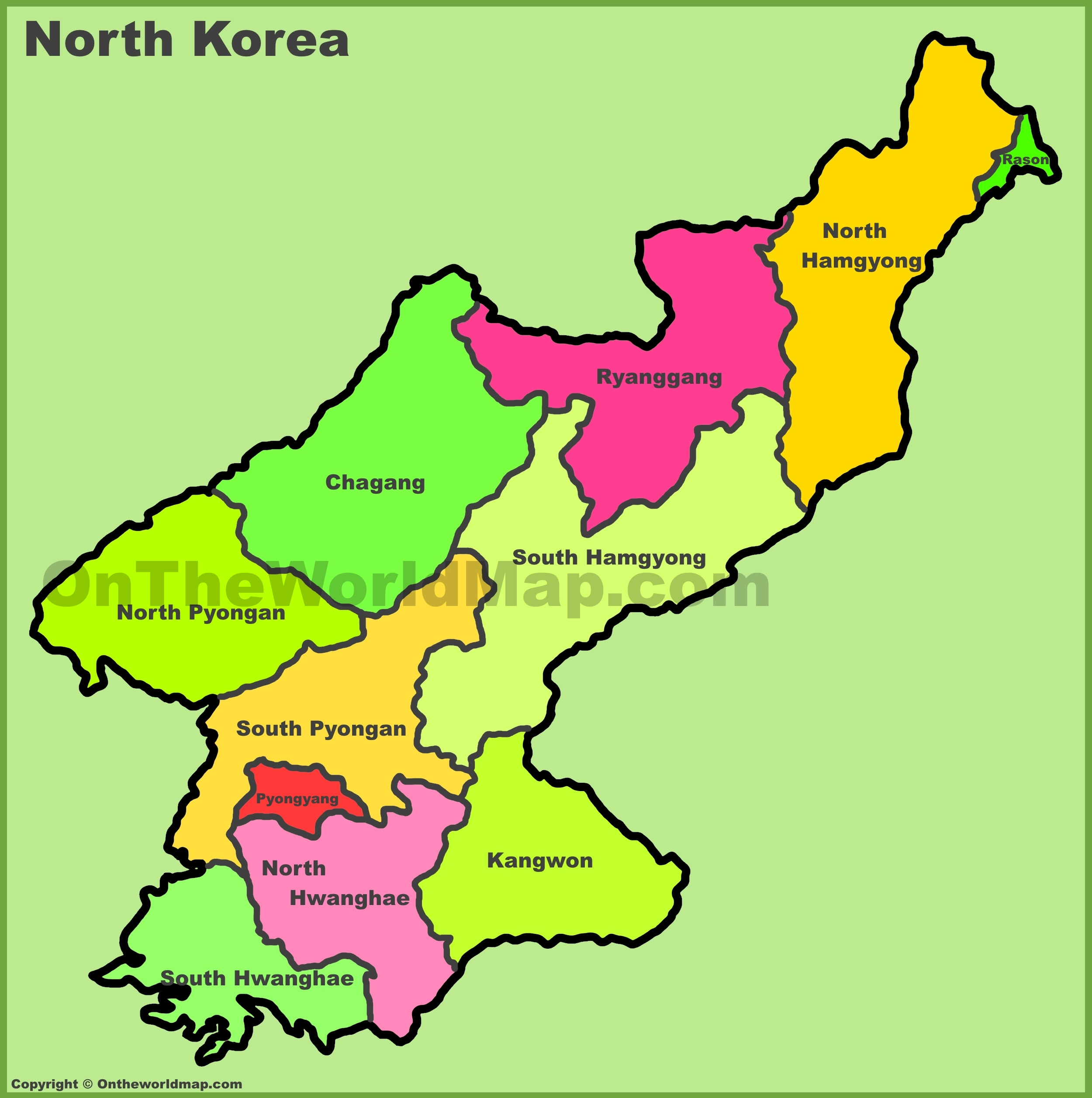 Administrative map of North Korea