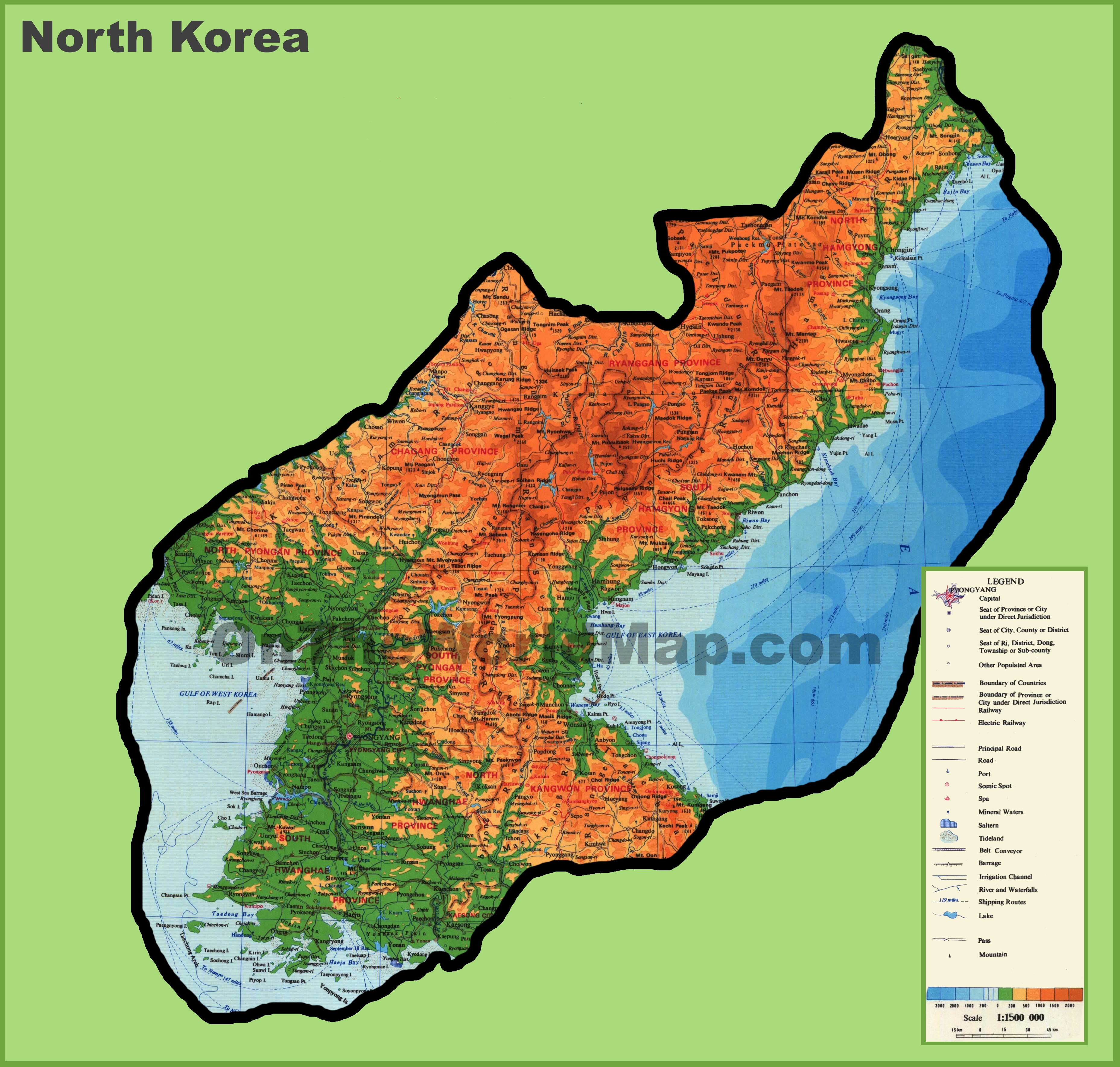 Large detailed physical map of North Korea