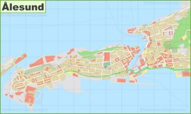 Detailed map of Ålesund