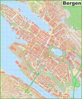 Bergen city center map
