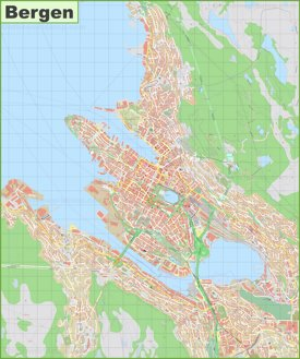 Detailed map of Bergen