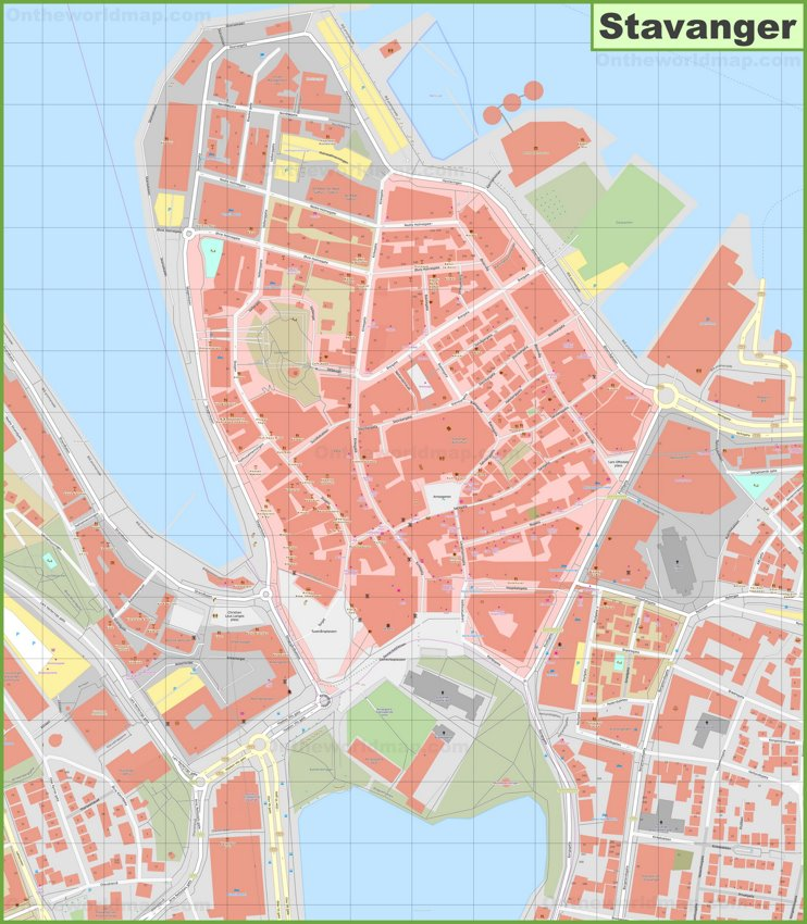Stavanger city center map