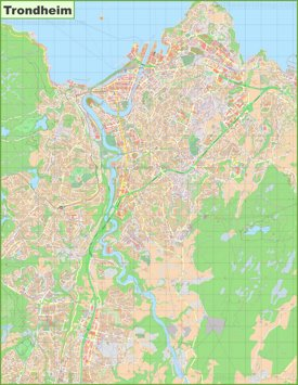Detailed map of Trondheim