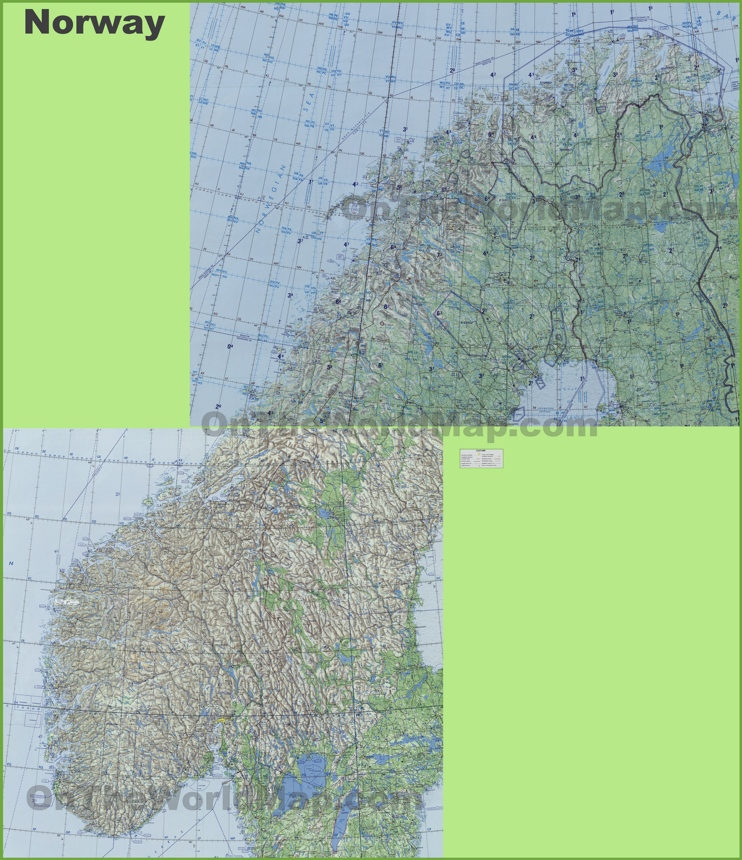 Large detailed topographic map of Norway
