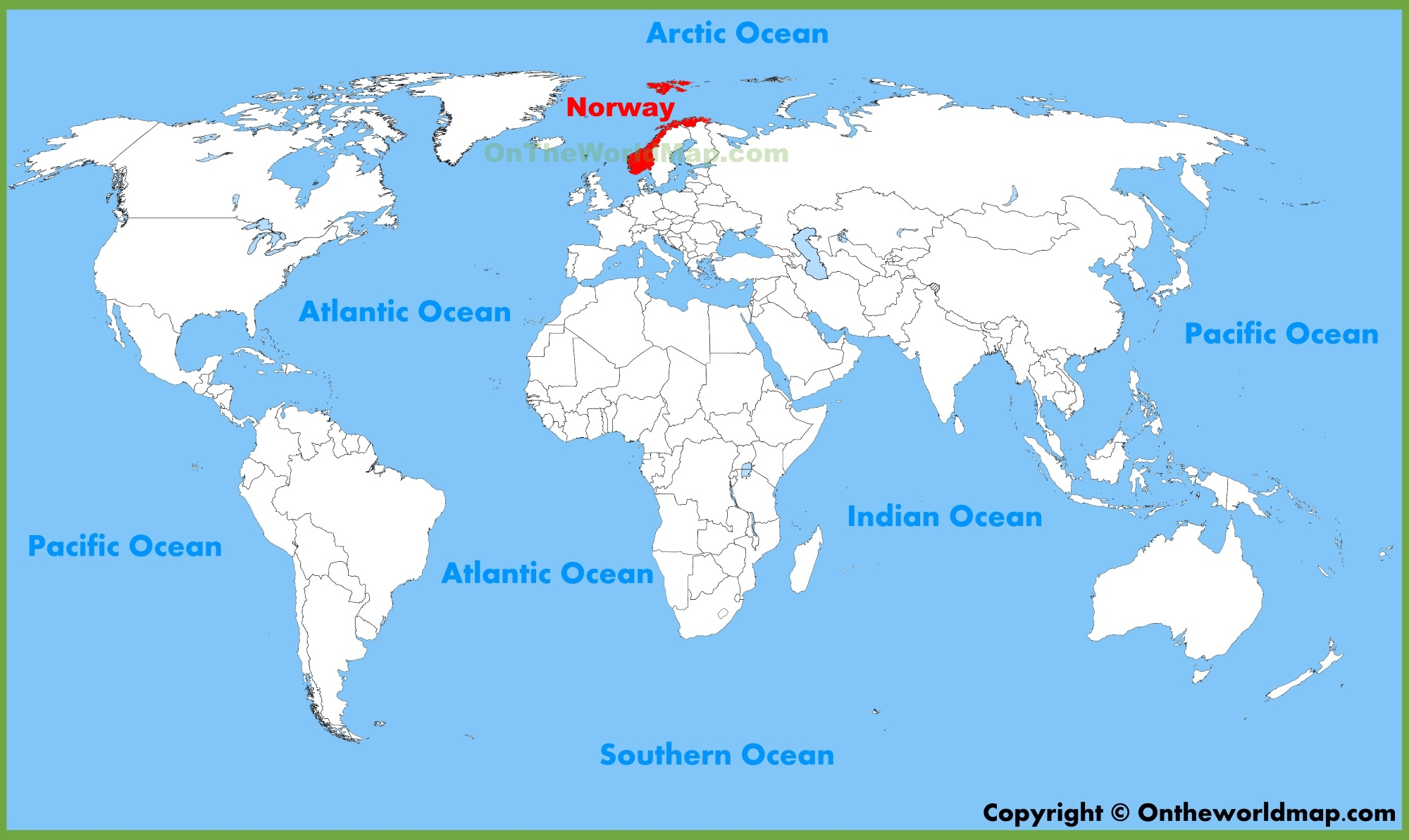 Norway Location On The World Map - Norway map world