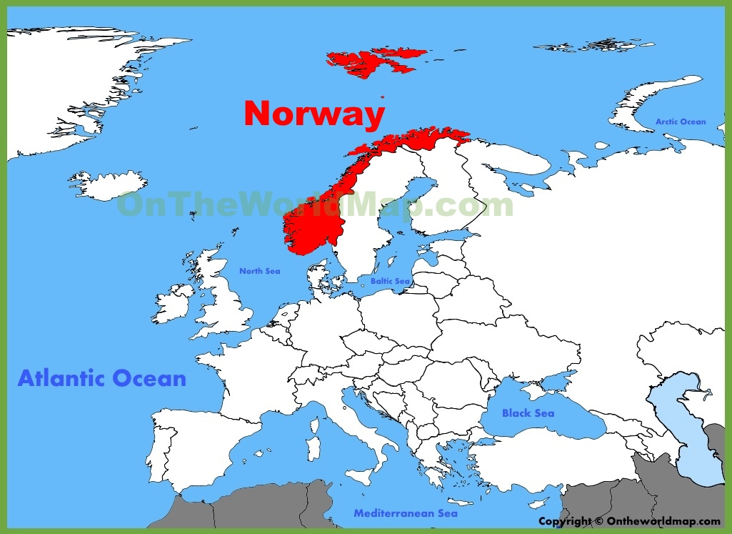 Norway On Map Norway location on the Europe map