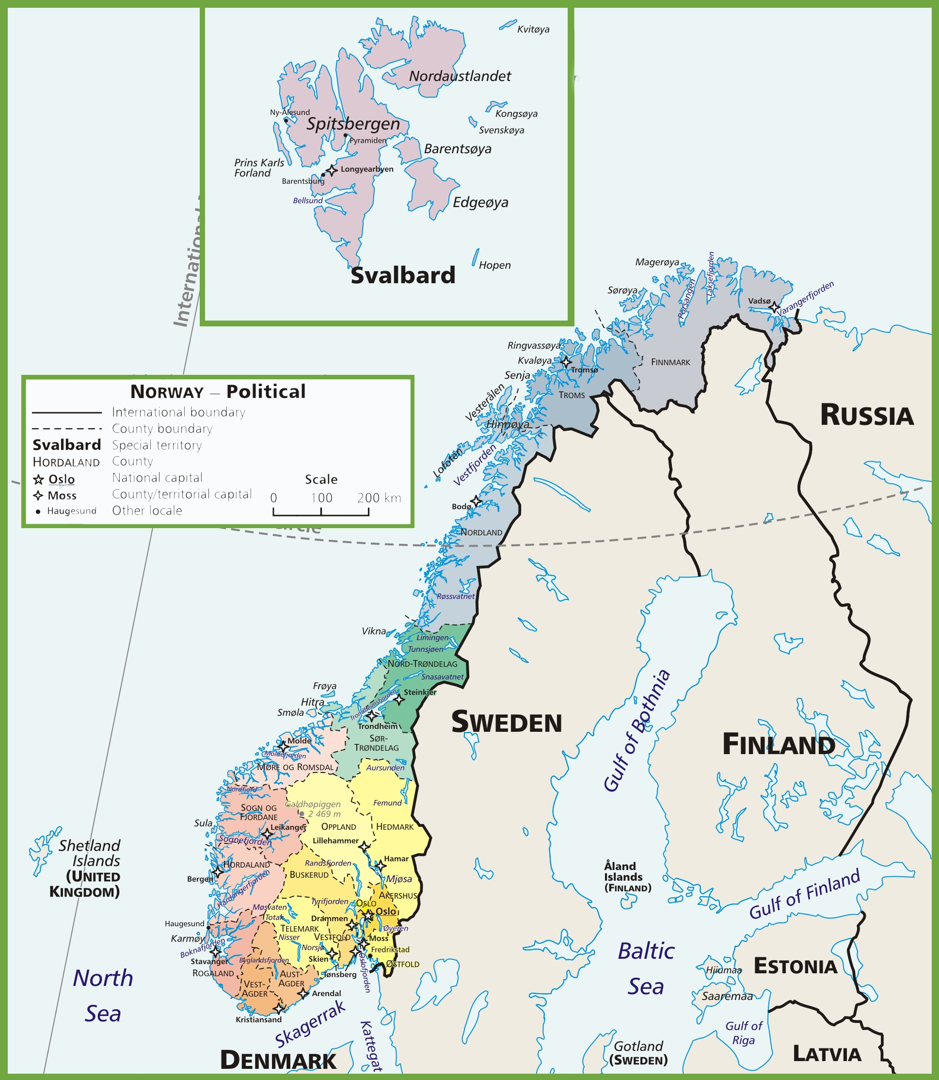 photo relating to Printable Map of Norway named Norway political map
