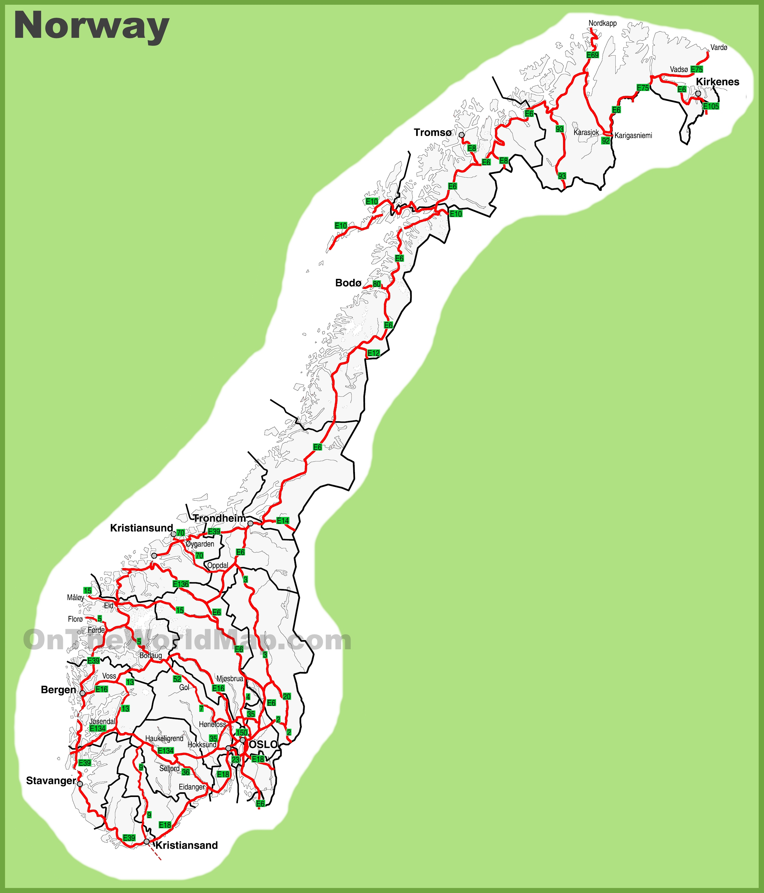 Norway Maps Maps Of Norway - Norway map detailed