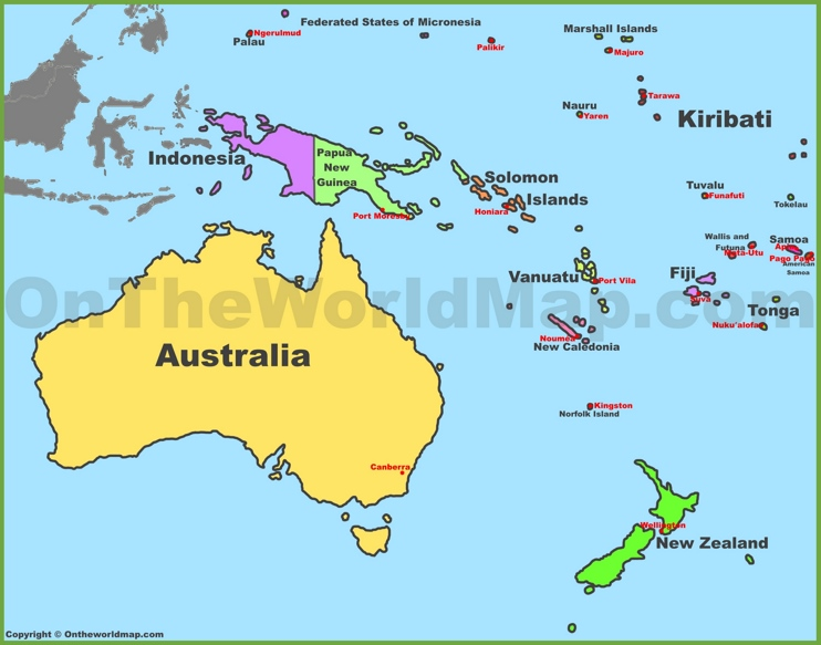 Oceania Map Quiz Map of oceania with countries