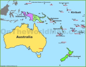 Map of Oceania with countries and capitals